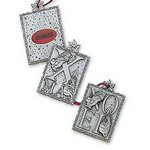 Noel 3 Piece Christmas Ornament in Solid Pewter with Imprint