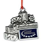 Christmas Presents Season's Greetings Pewter Ornament