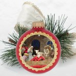 Multi Color Silk Print Christmas Ornament with Braid