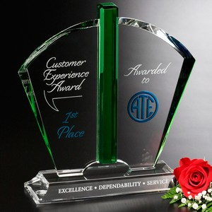 Fandango Emerald and Optical Crystal Award 10-1/2in