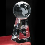 Tapered Optical Crystal Globe Award 7 in.