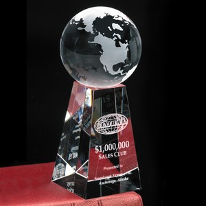 Tapered Optical Crystal Globe Award 7 in.