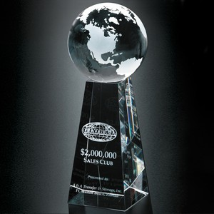Tapered Optical Crystal Globe Award 8 in.