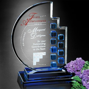 Azure Moon Optical Crystal Award 8 in.