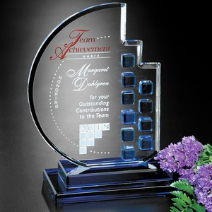 Azure Moon Optical Crystal Award 10 in.