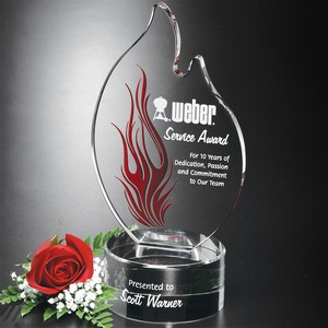 Wildfire Flame Optical Crystal Award 10 in.