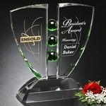 Pinion Optical Crystal and Emerald Glass Award 12 in.