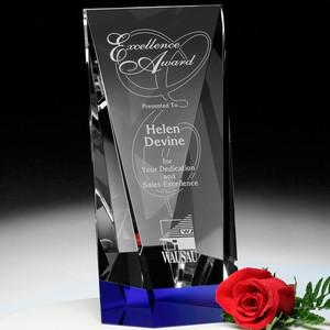 Valera Indigo Optical Crystal Award 10in