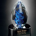 Blue Swirl on Black Base Art Glass Award 5 in.