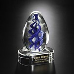Blue Swirl on Clear Base Art Glass Award 5 in.