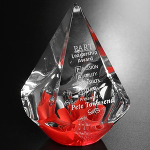 Large Quatro Pyramid Art Glass Award - Red 5-1/2 in.