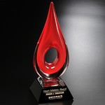 Red Teardrop Art Glass Award 14 in.