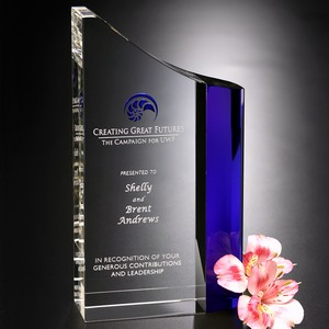 Faceted Wave Optical Crystal Award 8 in.