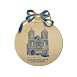 Christmas Ball, flat Gold Holiday Ornament