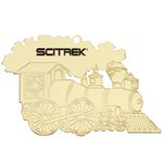 Golden Train Shape Tree Ornament with Imprint