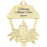Gold Lantern Ornament with Candle with Imprint