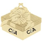 Golden Gift Box Shaped Ornament with Bow
