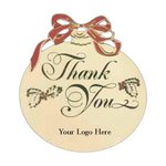Thank You Ornament with Holly Design and Imprint