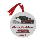 Round Ornament with Full Color Truck with Tree