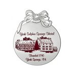 Silver Holiday Ball with Bow Ornament with Imprint