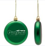 Green Shatter Proof Round Flat Ornament