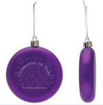 Purple Shatter Proof Round Flat Ornament
