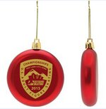 Red Shatter Proof Round Flat Ornament