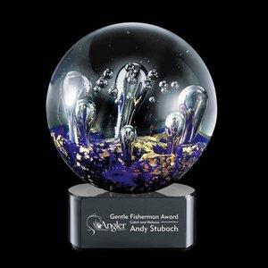 Serendipity Art Glass Award on Black Base - 4 in. Diam