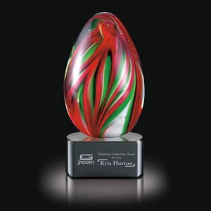 Bermuda Art Glass Award on Black Base - 5 in. High