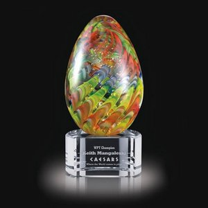 Hibiscus Art Glass Award on Clear Base - 5.5 in. High