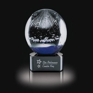 Starburst Art Glass Award on Black Base - 5 in. High