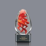 Helix Art Glass Award on Black Base - 5 in. High