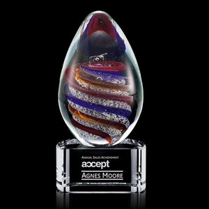 Zenith Art Glass Award on Clear Base - 6.25 in. High