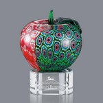Arcadia Apple Art Glass Award on Clear Glass Base