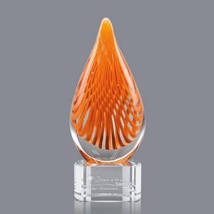 Aventura Art Glass Award on Clear Glass Base