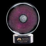 Reflex Art Glass Award on Black Base - 5 in. Diam