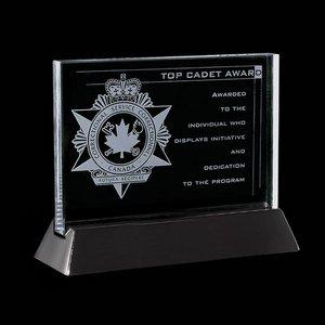 Walkerton - Jade/Black Glass Award 3 in.x 5 in. Horizontal