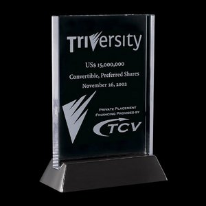 Walkerton - Jade/Black Glass Award 3 in.x 5 in. Vertical