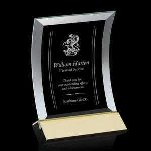 Dominga Award Curved bevelled Jade Crystal on Aluminum Base 6in x8in