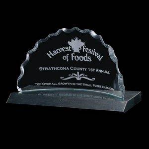 Saratoga Award Curved Jade Award on Marble Base 12 in. Wide