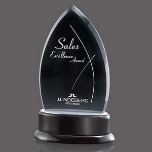 Thompson Black Glass Award on Black Piano-Finish Base 7 in.