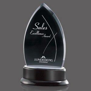 Thompson Black Glass Award on Black Piano-Finish Base 9 in.