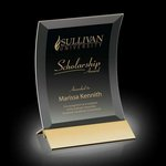 Dominga Award - Black Glass Award with Gold 6 in x8 in