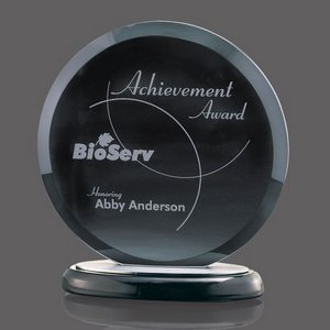 Underwood Circular Black Glass Award on Black Base 8 in. Diam