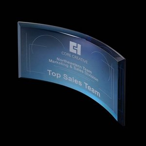 Bancroft Curved Blue Glass Award  4 in.x 8 in.