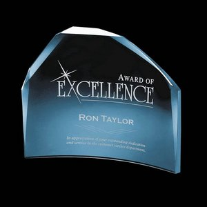 Roehampton Blue Glass Crescent Award 8 in.x10 in.