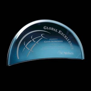 Bluffwood Blue Glass Curved Crescent Award 5 in.x10 in.