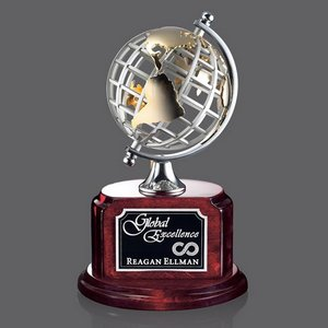 Woodstock Globe Award - Rosewood/Chrome 9.25 in.