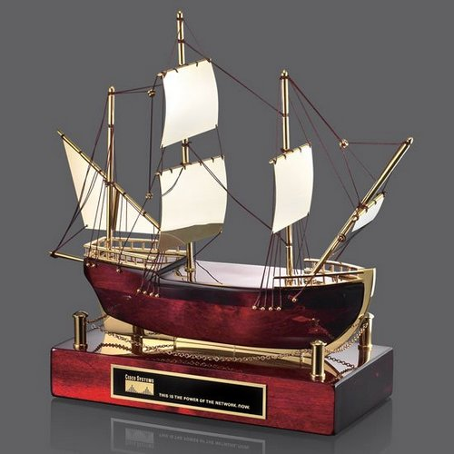 Maritime Sailboat - Rosewood/Gold 12.5 in.