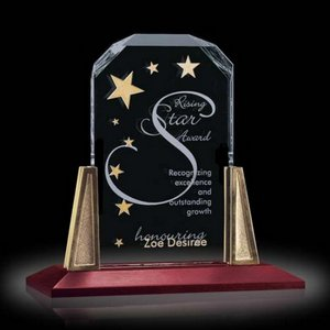 Renata Award on Walnut Base with Gold Posts 8in